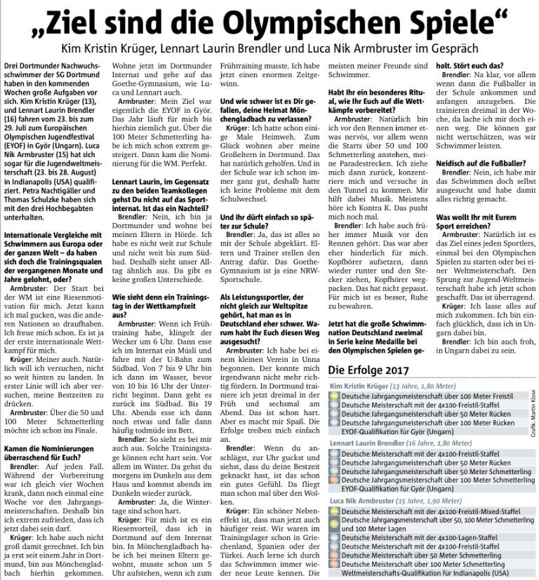 Dortmunder Nachwuchsschwimmer sind international im Einsatz
